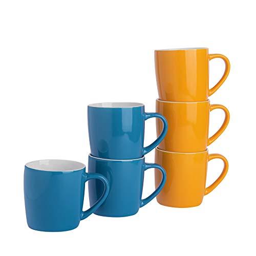 Argon Tableware Té Café - 6pc contemporáneo de Colores Tazas de cerámica...