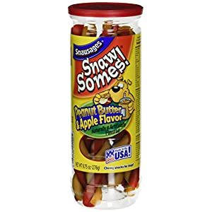 Snausages Snaw Somes! Peanut Butter & Apple Flavored Dog Snacks, 9.75 Ounces (Pack of 10)