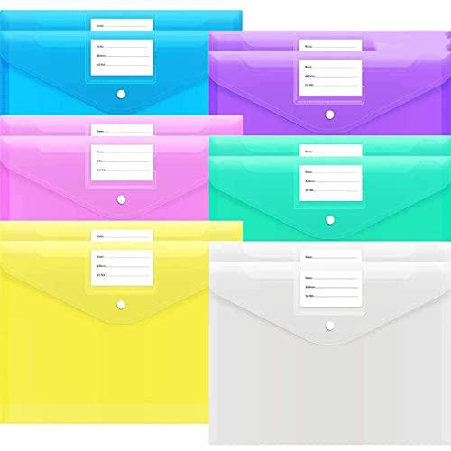 A4 Trasparente Cartelle Portadocumenti, 12 Pezzi Cartelle File in Plastica con Tasca per Etichette e Bottone per Ufficio e Scuola (Colori Assortiti)