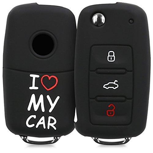 kwmobile Autoschlüssel Hülle kompatibel mit VW Skoda Seat 3-Tasten Autoschlüssel - Silikon Schutzhülle Schlüsselhülle Cover I Love My car Weiß Rot Schwarz
