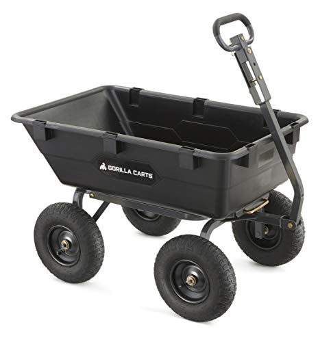 Gorilla Carts Heavy-Duty Poly Yard Dump Cart | 2-In-1 Convertible Handle, 1200 lbs capacity | GOR6PS model