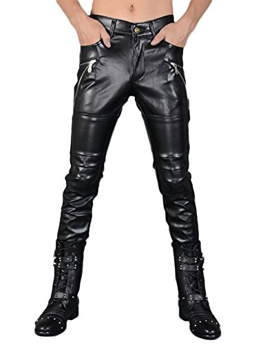 Idopy Herren Schwarze Skinny Faux Leder PU Hosen, Schwarz, W34 (Taille 88cm)