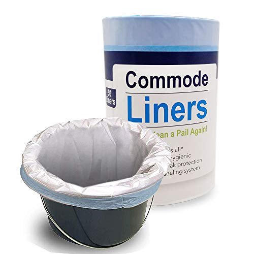 SaniCare Commode Liners - Pack of 50 Disposable Commode Liners - Fits All Standard Bedside Commodes - Eliminates Odors - Never Clean A Pail Again