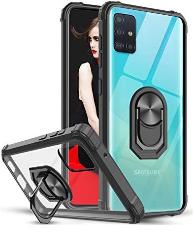 LeYi Funda para Samsung Galaxy A71 4G,Transparente Carcasa con 360 Grados iman Soporte Silicona Bumper Antigolpes Armor Case para Movil A71 4G,Clear Negro