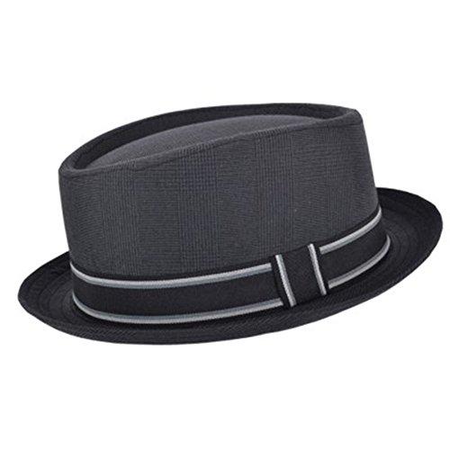 Maz Porkpie-Hut für Erwachsene, Unisex, klassisch, Baumwoll-Mischgewebe, mit Streifenband Gr. M/L(59 cm), dunkelgrau