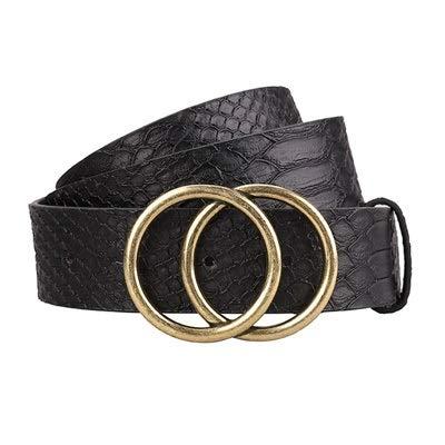 lehao Cinturones para mujer de moda con doble hebilla de cuero para pantalones vaqueros (longitud del cinturón: 95 cm, color: negro serpiente)