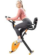 GEARSTONE Vélo d'Appartements Pliable avec dossier, Vélo d'exercice avec 8 Niveaux de Résistance, Moniteur Ecran LCD et Capteur de Fréquence Cardiaque,Idéal pour Fitness Domicile