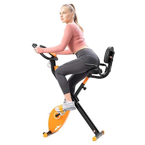 GEARSTONE Bicicleta Estática Plegable con Respaldo, Bicicleta de Fitness con 8 Niveles de Resistencia, Monitor de Pantalla LCD con Sensor de Frecuencia Cardíaca