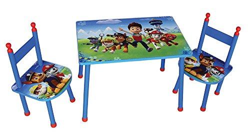 Fun House PAT'PATROUILLE Ensemble Deux Enfant, MDF, Bleu, Table H.40 X L.60 40CM + Chaises H.52 X L.28,5 X P.28,5 cm