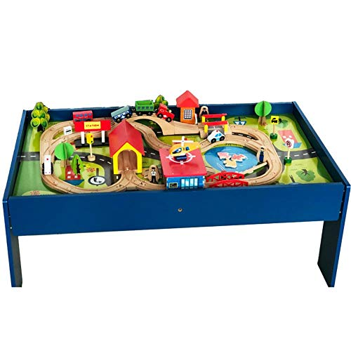 COMPY 3-5-7-jähriger Junge Bausteine Children's Toy Wood Kleine Zugkamera Gleis Set Kombination Spieltisch, 88 Stück BaustellenkameraGleis Tisch
