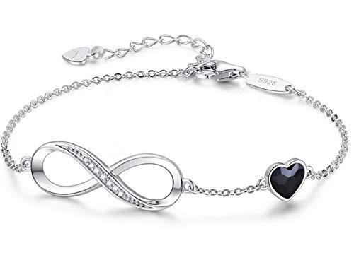 Beforya Paris – Pulsera negra para mujer con corazón – Plata 925 – Bonita pulsera brillante con corazón de cristal – Pulsera para mujer elegante caja de regalo