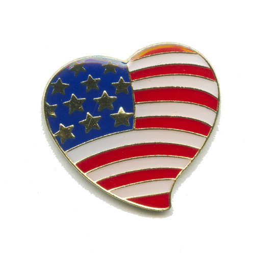 USA Flagge Flag Patrioten Herz Heart Amerika Badge Button Pin Anstecker 0002