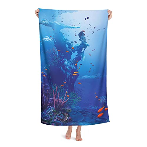 FsszpZZ Sirena Ariel Toalla de baño grande microfibra suave adulto toalla de natación para viajes