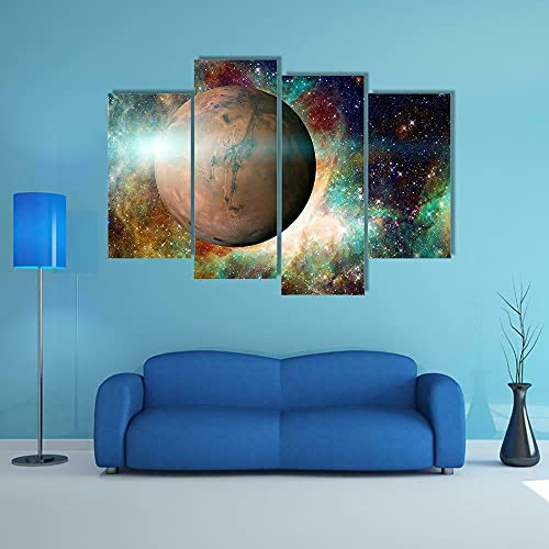 GSDFSD Cheap 4 Part Wall Art Planet Mars in Solar System Canvas Pictures Painting Kitchen (160x100 cm Frameless Landscape Prints Pictures For Home Living Dining Room