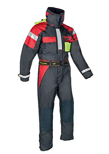Mullion New Aquafloat Superior, Schwimmanzug in Blau-Rot-Gelb, ISO 15027-1 Class D, ISO 12402-5/6, EN 343 Class 3-1, Auftrieb 74N(L), S-3XL (Größe XXL)