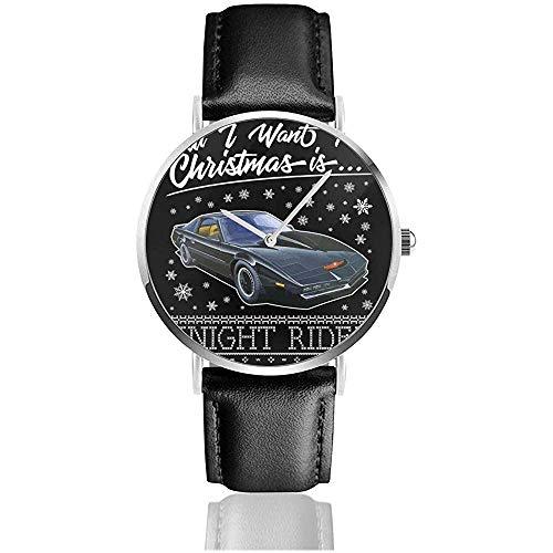 Business Casual Todo lo Que Quiero para Navidad es Knight Rider Watches Reloj de Cuero de Cuarzo con Correa de Cuero Negro