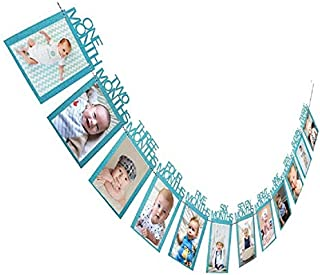 Sri SS Retail 1st Birthday Baby Photo Banner for Newborn to 12 Months, Monthly Milestone Photograph Bunting Garland, First...