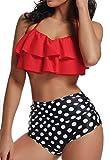 Bikini Mujer Push-up Acolchado Bra Trajes de baño una Pieza V-Cuello Vendaje Color solido1400 Rojo Large