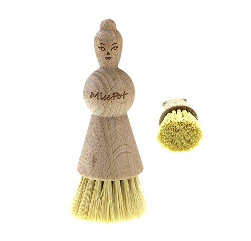 KulturGUT-shop Topfbürste Miss Pot - originelle Bürste aus zertifiziertem Buchenholz mit Naturborsten Union/Fibre, ideal zur Reinigung von Töpfen, Geschirr, Küchengeräte, M:ca. 90 x 40 mm