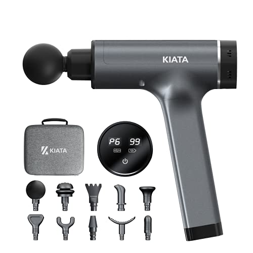 KIATA Massage Gun Deep Tissue Percussion Muscle Massager for Pain Relief, Electric Portable Handheld Gun Massage for Body Back Shoulder Leg, 10 Attachments 6 Speeds for Women Men Athletes Relaxation