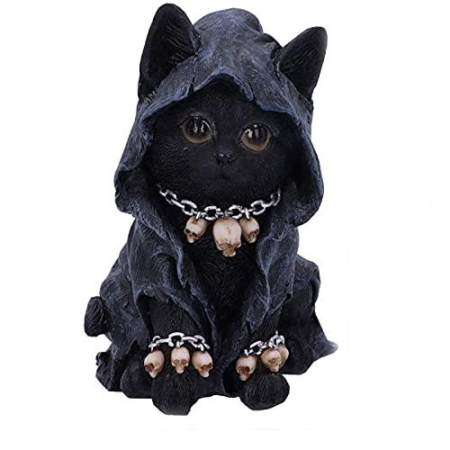 N\ A Katzenfigur Garten Ornament,Kreative Dekoration,Polyresin Statue,Geeignet Für Den Innen- Oder Außenbereich,Home Room Dekor 5x5x7.5cm/Schwarz