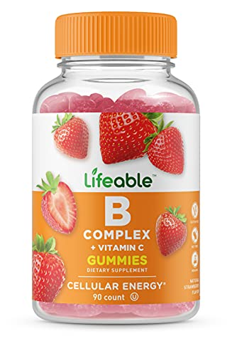 Lifeable Vitamin B Complex with Vitamin C – Great Tasting Natural Flavor Gummy Supplement – with Niacin, B6, Folic Acid, B12, Biotin & Pantothenic Acid – Energy and Nerve System Support – 90 Gummies