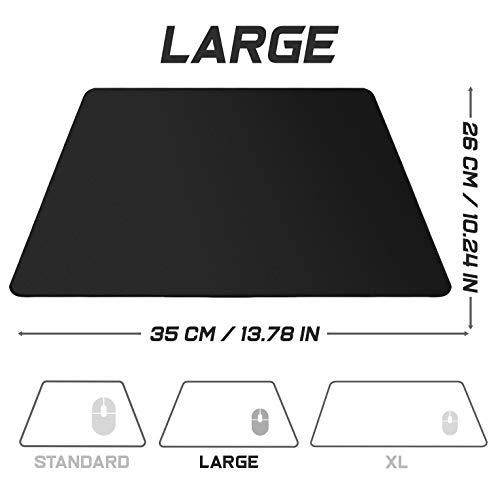 Sidorenko Gaming Mauspad – 350 x 260 mm – Fransenfreie Ränder – rutschfest – XXL Mousepad I Tischunterlage – spezielle Oberfläche verbessert Geschwindigkeit und Präzision I schwarz - 3
