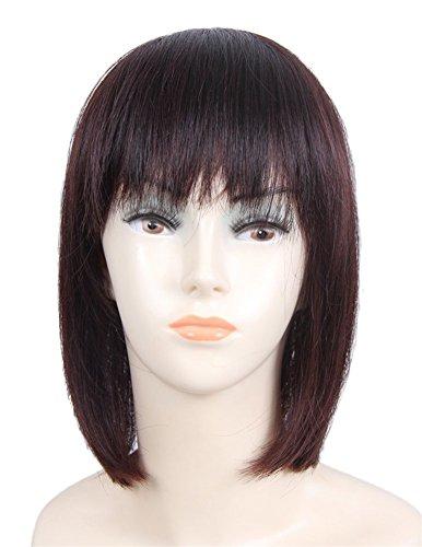 Remeehi 35,6 cm de long Cheveux lisses Femme N 100% cheveux humains Topper Long Postiche Plat Bangs pièce supérieure pour femme