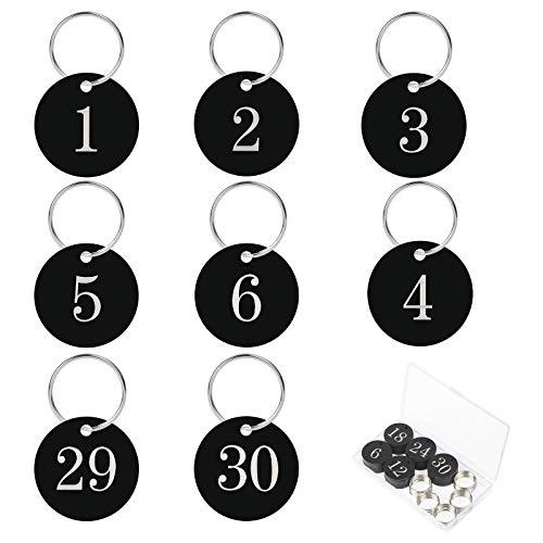 Números de Llavero 30PCS AirSMall Llaveros con Etiqueta con Anillo a Hoteles/Corporativo/Vestuario/Taquilla/Pub/Restaurante/Club/Saunas/Oficinas/Escuelas/Gimnasio/Negro/Circular/Identificacar(1-30)