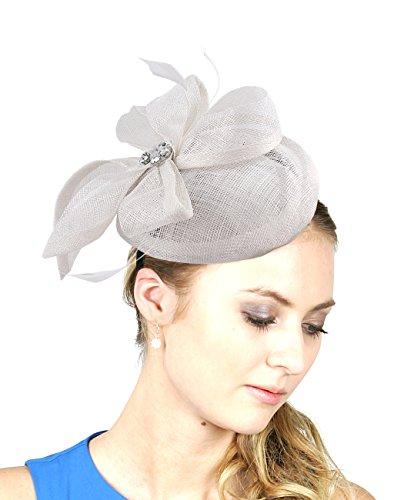 NYFASHION101 Women's Rhinestone & Feather Accent Sinamay Fascinator Headband, White