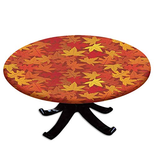Elastic Edged Polyester Fitted Table Cover,Multi Colored Autumn Fall Maple Leaves in Unusual Designs Nature Theme Artprint Decorative,Fits up 45'-56' Diameter Tables,The Ultimate Protection for Your T