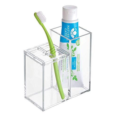 iDesign Portaspazzolini con scomparti, Pratico porta dentifricio e spazzolini in plastica per lavandino, mensole e armadietto, Porta spazzolino e organizer cosmetici, trasparente
