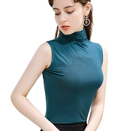 STARBILD Damen Shirt Top mit Rollkragen Ärmellos Poloshirt Tank-Top perfekte Passform Basic-Top,Braun L