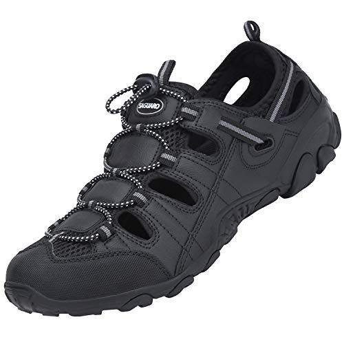 SAGUARO Hombre Sandalias Verano Sandalias de Senderismo para Mujer Antideslizante Zapatillas de Senderismo Transpirable Ligero Sandalias Deportivas, Negro 43