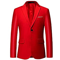 Mens slim fit dress blazer with notch lapel,single breasted and 2 button fastening Classic formal suit jacket with 2 flap pockets and 3 stylish decorative cuffs on each sleeve Enduring quality and well-ironed men elegant blazer jackets with center ve...