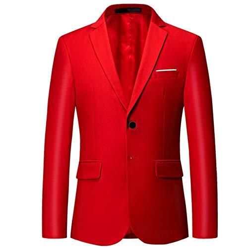 giacca rossa uomo YOUTHUP Blazer da Uomo Giacca da Abito Formale Monopetto Slim Fit Elegante Giacche da Smoking a 2 Bottoni