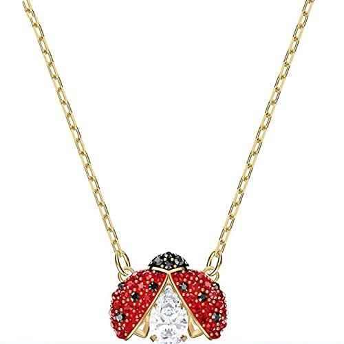 Lindo collar de cristal de mariquita de siete estrellas infantil,corazón palpitante, cadena de clavícula de diamante blanco