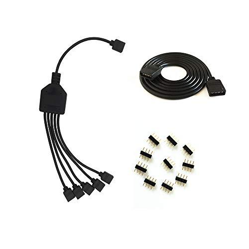 schwarz 4Pin LED Splitter Kabel Y Splitter Verteiler Kabel,rgb splitter kabel, LED Stripe Verbinder für Eine zu Fünf SMD 5050 3528 RGB LED Streifen,LED TV Hintergrundbeleuchtung SET,und für 4 polig