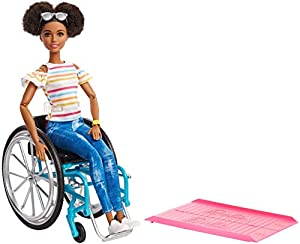This line of 12 Barbie Fashionistas dolls includes 6 body types, 9 skin tones, 6 eye colors, 11 hair colors, 10 hairstyles and so many on-trend fashions and accessories! Barbie doll comes with a wheelchair and ramp. The chair's wheels really roll ...