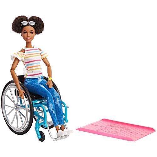 Barbie-GGV48 Fashionistas, Bambola Afroamericana in Sedia a Rotelle, Giocattolo per Bambini 3+ Anni, Multicolore, GGV48