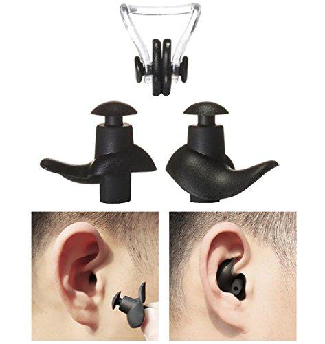 Upstore 1SET Gel de natación o Dormir Tapones para los oídos Nariz Clip Suave Silicona Antirruido A Prueba Agua Tapones para los oídos Nadador Traje de baño Swimmig Oído Protector Nariz (Negro)