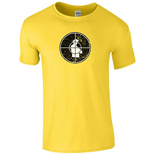 shuibaobao Target T-Shirt - Undercover Agent Secret Intelligence Inspired Gift Mens Top Yellow XL