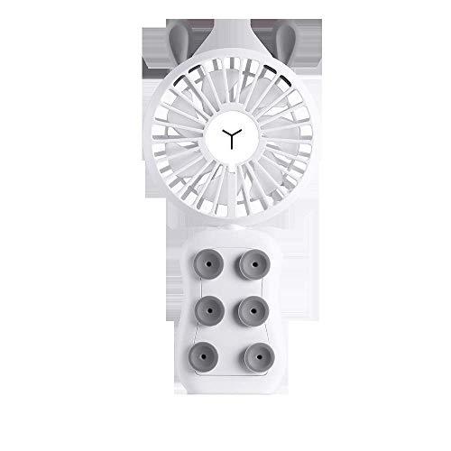 Lievevt USB Handheld Fan Mini Ventilador de Carga USB Ventilador eléctrico con Ventosa Ventilador para teléfono Celular Mini Ventilador de Color LED (Color:Gris) (Color : White)