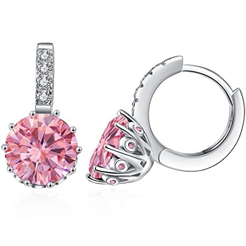 VONSSY Pendientes colgantes con piedras preciosas hipoalergénicas, circonita cúbica 5A brillante, chapado en oro rosa o platino, pendientes de cristal tipo argolla con efecto Leverback