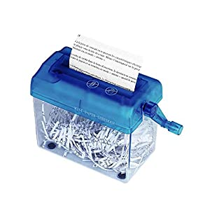 Destructora de Papel, A6 Destructora Maual de papel y Documentos, Herramienta de Corte Recto para la Oficina, Escuela o uso Doméstico, color Azul (Corte Recto, Capacidad de Hasta 3 Hojas)