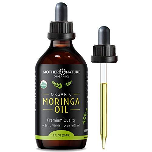Moringa Oil - USDA Certified Organic, 100% Pure, Cold Pressed & Unrefined Gluten Free Oil (2oz) - Natural Moisturizer for Skin, Face, Body & Hair - Non-GMO & Vegan
