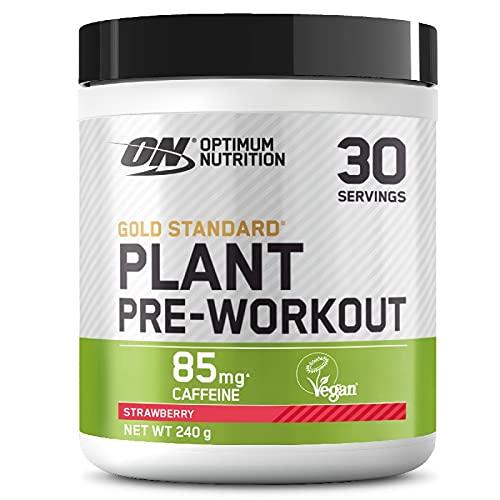 Optimum Nutrition ON Gold Standard Plant Pre-workout, Pre Workout Vegano in Polvere con Caffeina, Fragola, 30 Porzioni, 240 g