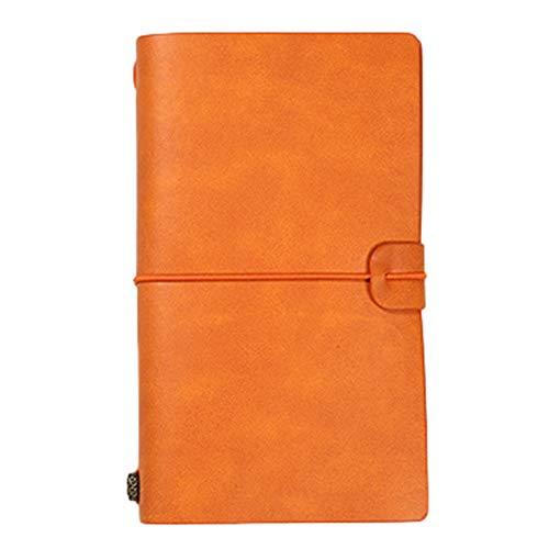 Bodhi2000 - Cuaderno de notas de piel sintética, estilo vintage, hojas sueltas, agenda diaria, diario de viaje, cuaderno escolar, papel de carta, color Color naranja. S.None