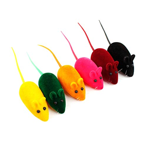 Balacoo Hund Katze Spielzeug Quietschen Geräusche Spielzeug Ratte Interaktives Spielzeug Mäuse Falsche Maus Spielerei für Katze Kätzchen Hündchen Tier Haustier Schöne 16Pcs Mischfarbe