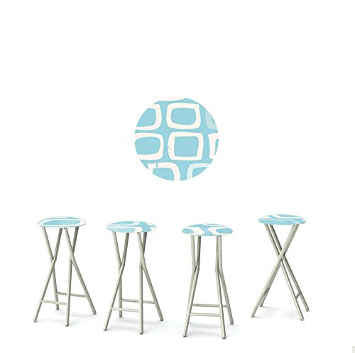"""Best of Times 13169W2502 BOY 30"""" Padded Bar Stools-Set of (4), Blue White"""
